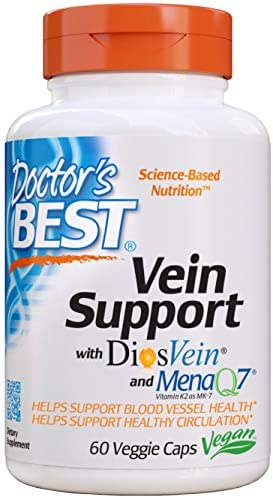 Doctor's Best Vein Support with DiosVein and MenaQ7, Non-GMO, Gluten Free, Vegan, Soy Free, 60 Veggie Caps