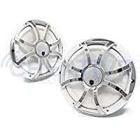 Wet Sounds REVO CX-10 XS-W-SS White & Stainless XS Grill 10 Inch Marine High Performance LED Coaxial Speakers (pair)