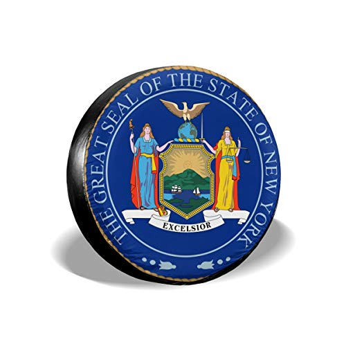 New York State Seal Spare Tire Cover Protector Novelty Wheel Tire Cover Camper Travel Trailer Accessories for Most Vehicle