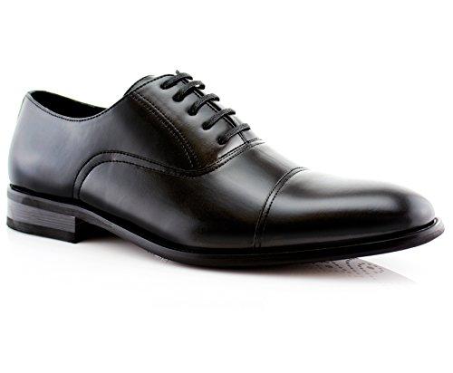 Ferro Aldo Mens Classic Captoe Lace Up Oxford Casual Dress Shoes Black 10.5