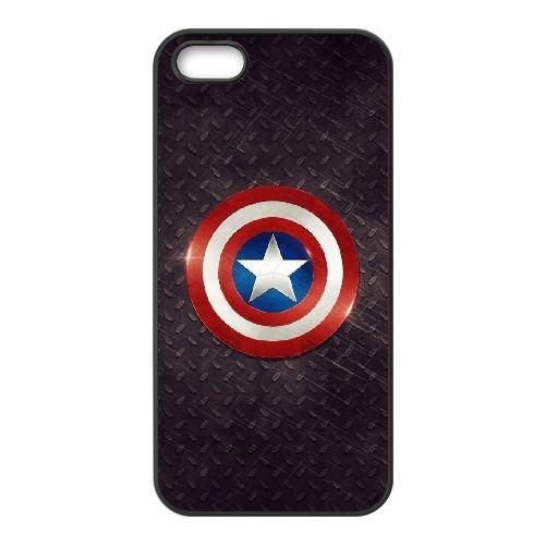 Captain America Logo coque iPhone 5 5S cellulaire cas coque de téléphone cas téléphone cellulaire noir couvercle EOKXLLNCD22650