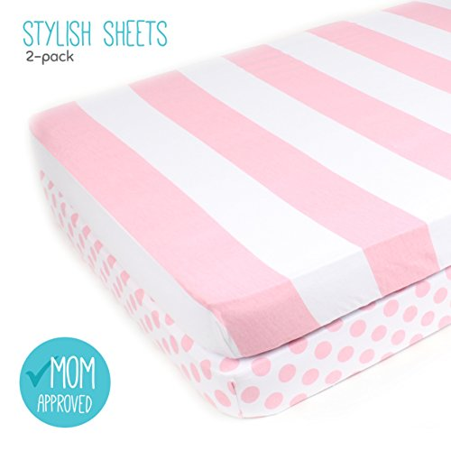 Pack N Play Playard Sheet Set – 2 Pack – Fitted, Soft Jersey Cotton Portable Crib Sheet – Baby Bedding in Pink Stripes & Polka Dots by Mumby
