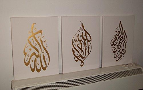 öl-gemälde auf leinwand, arabische kalligraphie ... - Wohnzimmer Beige Gold