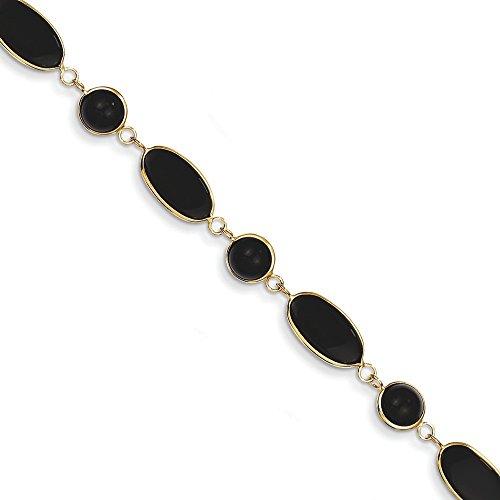 Bracelet 14 carats et Onyx - 18,4 cm-Fermoir mousqueton-JewelryWeb