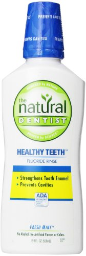The Natural Dentist Healthy Teeth Fluoride Rinse - Alcohol-free mouthwash that strengthens tooth enamel. Fresh Mint flavor, 16.9 oz. (Mouthwash Flouride)
