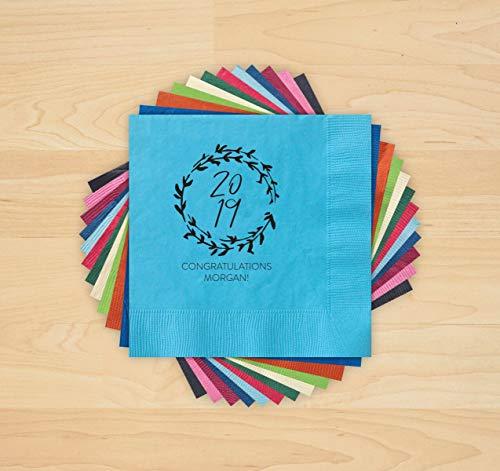 2019 Grad Wreath Letterpress Napkins - Set of -