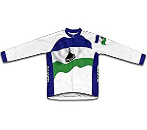 Lesotho Flag Long Sleeve Cycling Jersey for Women Size S