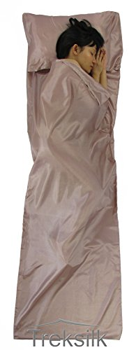 TREKSILK: ART SILK LINER Sleeping Bag Hostel Travel Inner Sheet Sleep Sack Backpack (Light Pink)