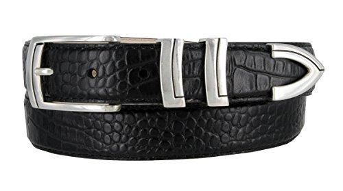 Harbor Men's Italian Genuine Calfskin Leather Designer Dress Belt In Alligator Black, Size 36