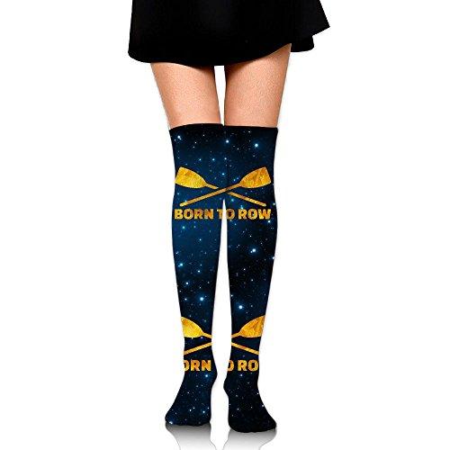 Born To Row Gold Unisex Over Knee High Socks Extra Long Athletic Sport Tube - Born Gold Tube