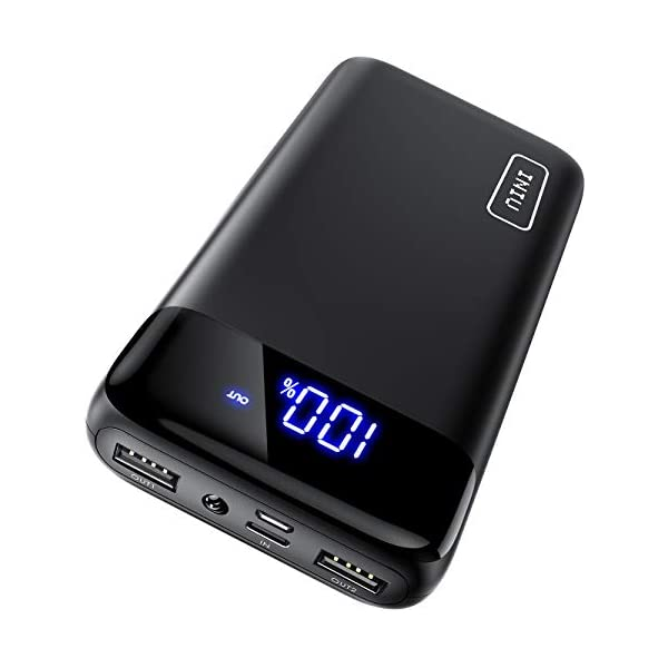 INIU Portable Charger, LED Display 20000mAh Power Bank with Type C & Micro USB Input, Dual 3A High-Speed Output Battery Pack with Flashlight Compatible with iPhone 11 XS X 8 Samsung Galaxy S10 iPad