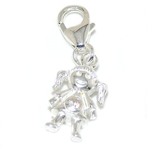925 Solid Sterling Silver Dangling Clip-on Little Girl with Clear Crystal Charm Pendant