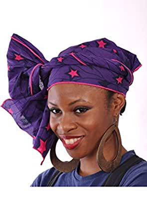 Elegant Purple and Fuchsia Stars African Print Head Wrap with Fuchsia Trim One Size