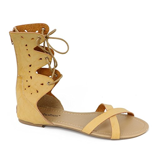 Chatties Kvinners Blonder Gladiator Glidelås Sandal Tan Blonder