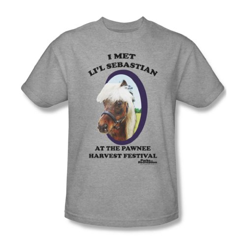 Parks & Recreation - Lil' Sebastian Adult T-Shirt In Heather, Size: Large, Color: Heather