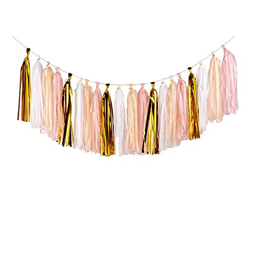20PCS Shiny Tassel Garland Tissue Paper Tassel Banner,Table Decor,Tassels Party Decor Supplies for Wedding,Birthday,Bridal/Baby Shower,Anniversary,DIY Kits - (Gold/Peach Color/Light Pink/White) ()