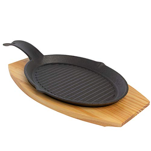 Mr. Bar-B-Q (2 Piece) Fajita Skillet Set With Wood Base Kitchen Accessories Cast Iron Skillet Cooking Set