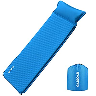 Galsoar Self Inflating Sleeping Pad, Compact Foam Camping Mat with Pillow, 2 Inches Thick Waterproof and Lightweight Mattress for Camping, Hiking, Backpacking and Family Traveling