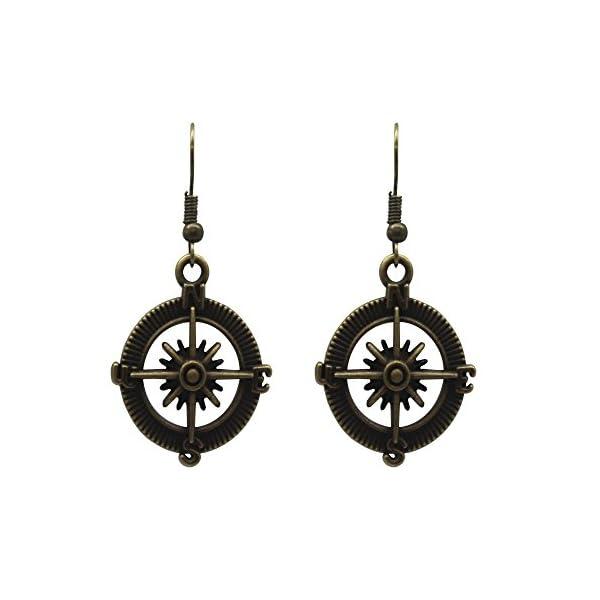 Meiysh Gothic Lolita Retro Steampunk Nautical Pirate Compass Earrings Charm 5