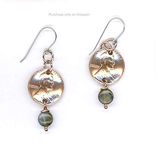 (55th Birthday Gifts Ideas 1964 Penny Labradorite Earrings Jewelry For Women Penny Coin Metalwork Drop)