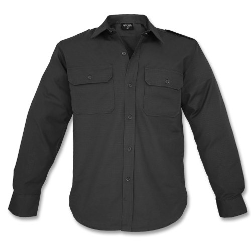 100% Cotton Ripstop Field Shirt in Black, Olive Green, Navy Blue, Woodland Camo or ACU Digital Camo (XXXL, Black)