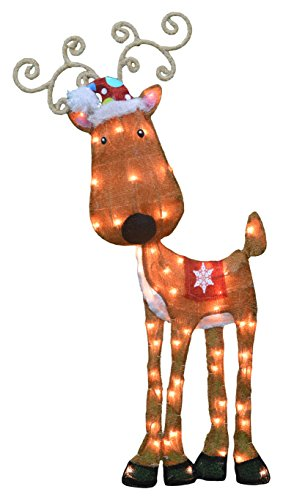 ProductWorks 32-Inch Pre-Lit Victoria Hutto Reindeer Christmas Yard Decoration, 50 Lights by ProductWorks