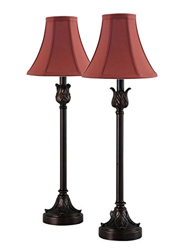 Catalina Lighting 19358-003 Brenda Bronze Buffet Table Lamps with Burgundy Fabric Bell Shades (Set of 2), Brown ()
