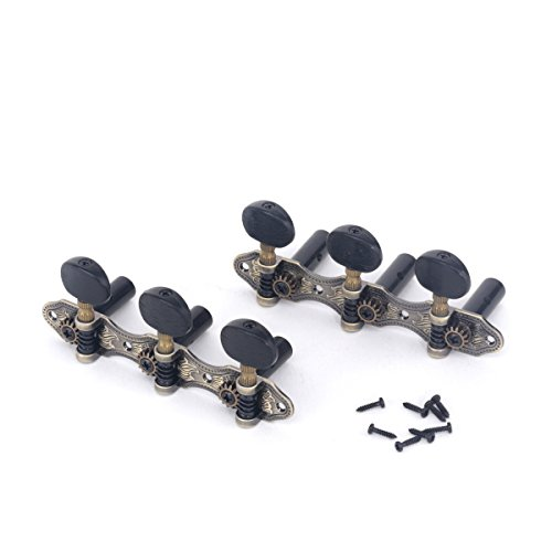 Classical Machine Heads Set - Musiclily Pro Set of 2 x 3 on A Plate Baker Style Classical Guitar Machine Heads Tuning Pegs Keys Tuners, Antique Brass