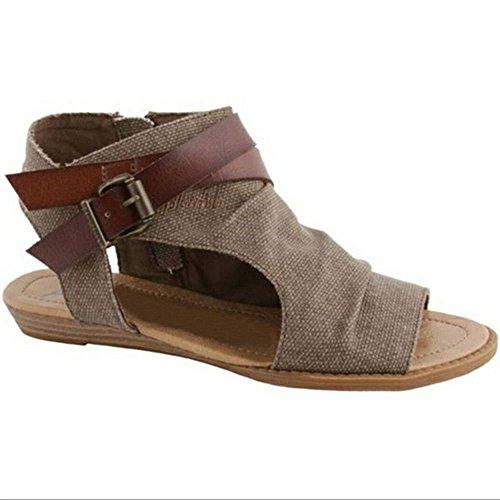 Roman 38 sandali pesce Shoes bocca sandali basso XXM sandali femminile scarpe moda flat donna spiaggia casual sandali denim da con bottomed marrone; 6fxqw