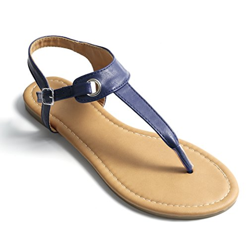 Soles & Souls Flat T-Strap Thong Sandal for Women Navy Blue 08 -