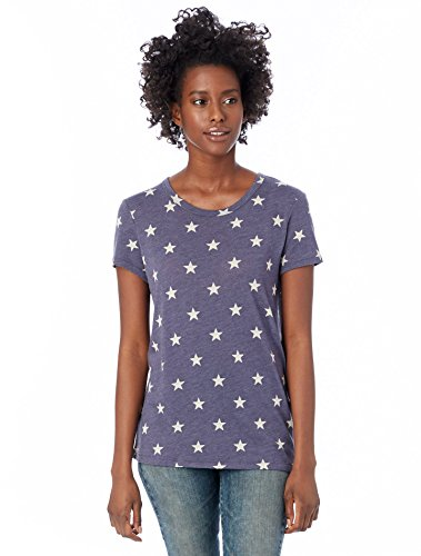 alternative-womens-printed-ideal-short-sleeve-crew-neck-tee-stars-m
