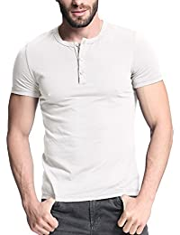 Men's Casual Short Sleeve Button T-shirt Sports Slim Fit Sweatshirt Tops