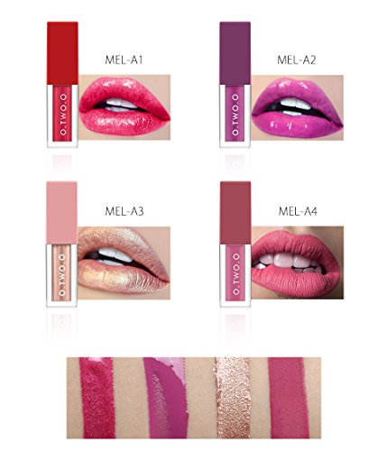 CASA SHOP O.TWO.O 4Colors/Kit Winter Hot Make Up Lip gross Different Effect Matte Liquid Lip (Bobbi Brown Lip Liner Plum)