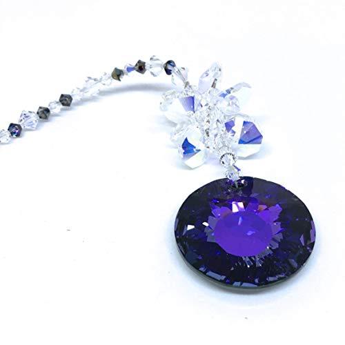 Purple Swarovski, Crystal Sun Catcher, Aurora Borealis, Car Charm, Garden Decor, Rear View Mirror, Crystal Prism, Window Hanging, 9107 Aurora Stained Glass Mirror