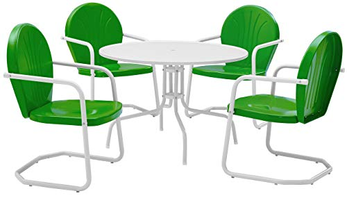 Crosley Furniture Griffith 5-Piece Metal Outdoor Dining Set with Table and Chairs – Grasshopper Green