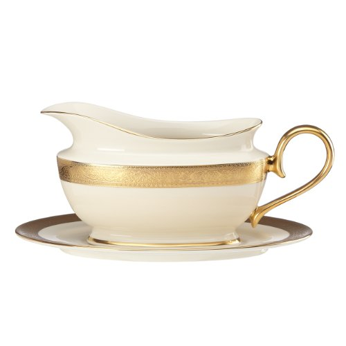 (Lenox Westchester Sauce Boat and Stand, Ivory )