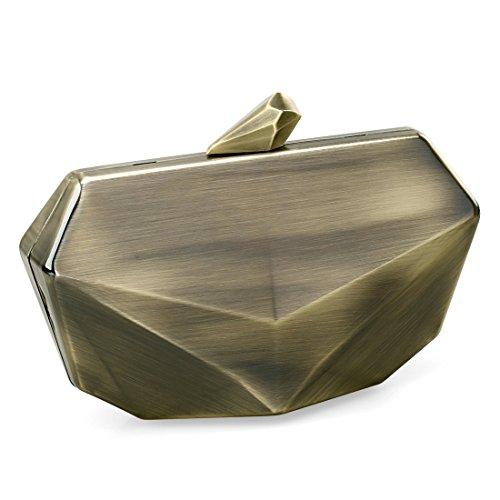 Metallic Fox Face Shaped Hard Case Clutch Evening Handbag w/Detachable Strap - Brushed Bronze -