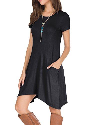 Levaca Women's Summer Short Sleeve Casual Loose Short T Shirt Dress with Pockets