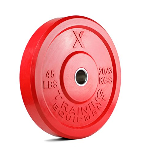 X Training Equipment Premium Color Bumper Plate Solid Rubber with Steel Insert - Great for Crossfit Workouts (45lb Single (Red))