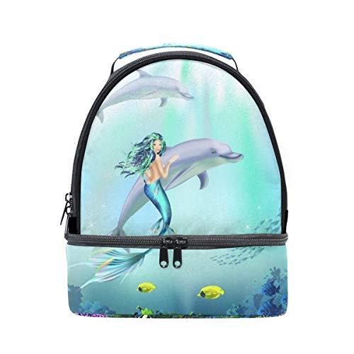 con Cooler mundo Bandolera el agua picnic y de ajustable bajo delfines bolsa para almuerzo correa doble sirena RHqw780