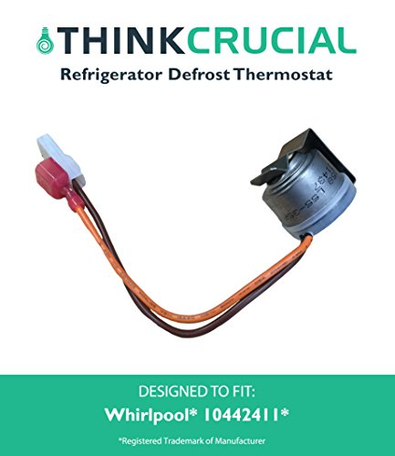 Defrost Thermostat for Whirlpool, Kenmore, Maytag, Sears & Roper Refrigerators, Compare to Part 10442411, 10442401, 4344231, 8170725, C8898601, C8978401 & C8978402, by Think Crucial