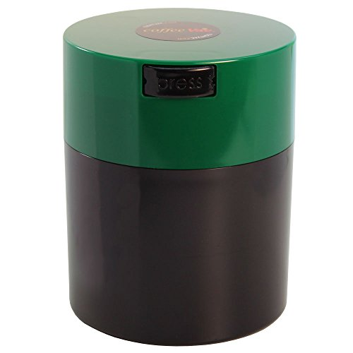 Coffeevac 1/2 lb - The Ultimate Vacuum Sealed Coffee Container, Green Cap & Black Body