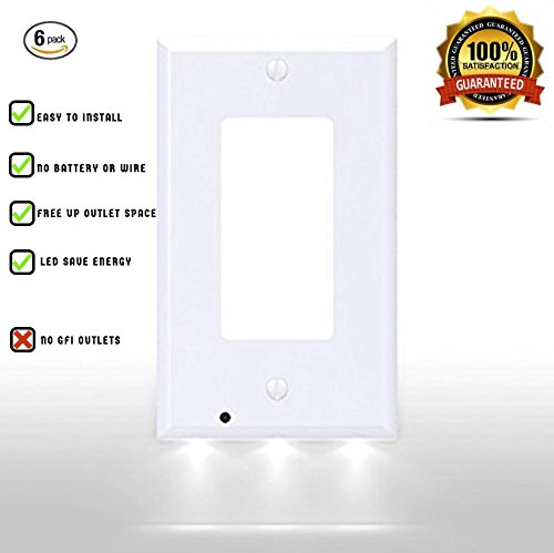 6-pack - White Outlet Wallplate Snap On Cover Plate with LED Motion Sensor Night Light, No Batteries, No Wires, Easy Installation (6 Pack) by iOriginale (Detector Cover)
