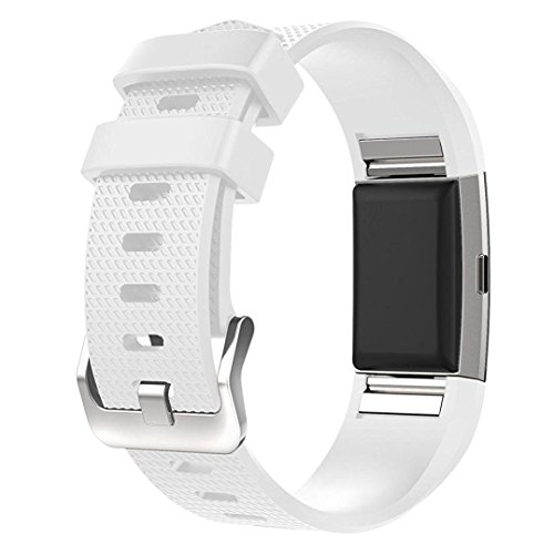 HWHMH Adjustable Replacement Sport Strap Band for Fitbit Charge 2 Fitness Watch, Classic, 12 Colors (1PC White, Wrist 5.5- 8.1)