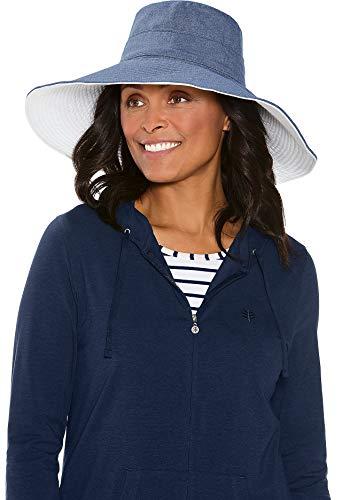 Coolibar UPF 50+ Women's Reversible Beach Hat - Sun Protective (One Size- Chambray)