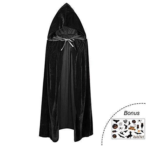 Lulutus Halloween Witch Party Long Cape Hooded Cloak for Women/Man Cosplay Costume