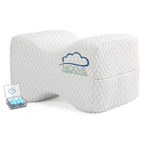 Modvel Orthopedic Knee Pillow - Memory Foam, Hip, Sciatica & Lower Back Pain Relief Cushion, Provides Support & Comfort, Breathable & Washable, Between-The-Legs Pregnancy, Ear-Plugs Bonus (MV-104)