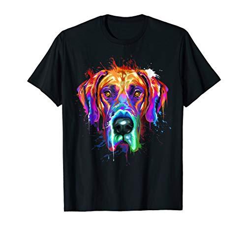 Splash Art Great Dane T-Shirt   Dane Puppy Lover Gifts
