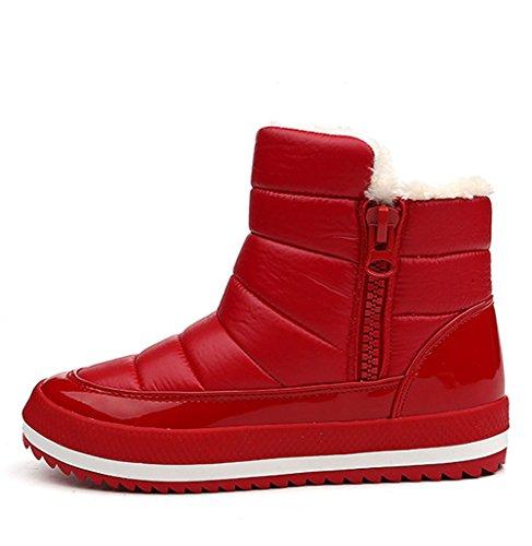 ROSEUNION Damen Winterstiefel Warm Gefütterte Schneestiefel Wasserdicht Outdoor Bergschuhe und Wanderstiefel Flache Knöchel Boots Stiefeletten Rot