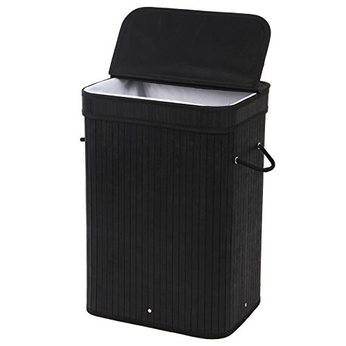 Songmics ULCB10H Bamboo Laundry Basket Folding Dirty Clothes Hamper with Lid Handles and Removable Liner Rectangular, Black